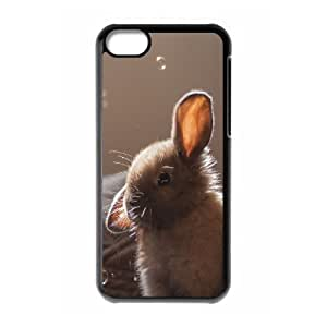 Pharrel Bunny iPhone 5C Case Cute Bunny Soap Bubbles, Cool Bunny, {Black}