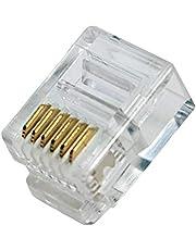odedo® 100 stuks RJ12 6P6C modulaire stekker voor platte kabel, westernstekker, telefoonstekker, RJ12-connector, modulaire plug voor platte telefoonkabel