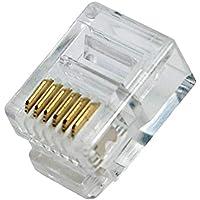 odedo® 100 stuks RJ12 6P6C modulaire stekker voor platte kabel, westernstekker, telefoonstekker, RJ12-connector…
