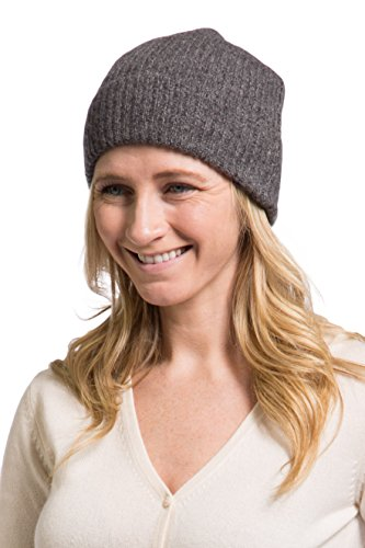 Fishers Finery 100% Pure Cashmere Ribbed Hat, Ultra Plush (Heather Gray)