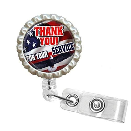 Thank You For Your Service Bottle Cap Retractable Badge ID Holder