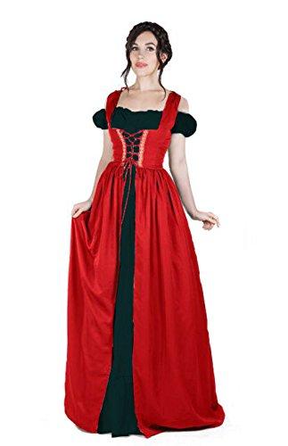 Renaissance Medieval Irish Costume Over Dress & Boho Chemise Set (L/XL, Red/Black) -