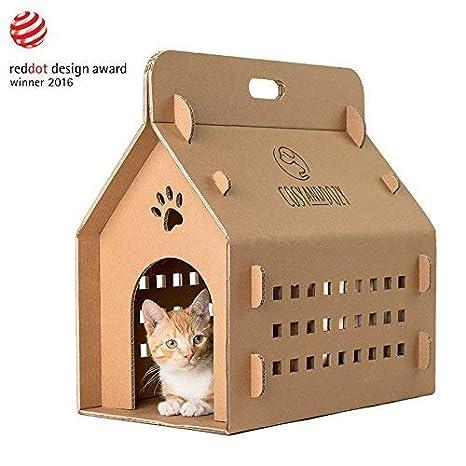 COSY AND DOZY Gato de Casa (cartón, contenedor, soporte de gato, caja de transporte, gato cama: Amazon.es: Productos para mascotas