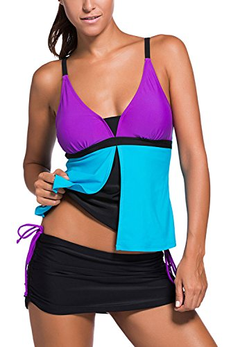 Tiheen Womens ColorBlock Tankini Bathing product image