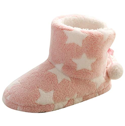 - Photno Women Cotton Slippers, Women Home Floor Soft Cotton-Padded Shoes Interior Boots Stars Print Slippers for Women Short Plush Lining House Slippers Pink