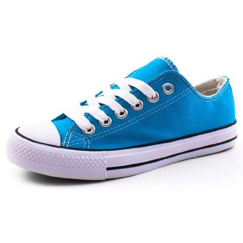 Damen Sneaker Low Top Schuhe Canvas Textil Türkis