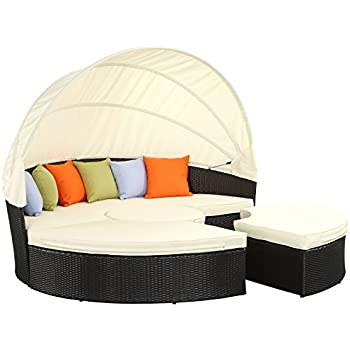 This Item LexMod Quest Circular Outdoor Wicker Rattan Patio Daybed With  Canopy