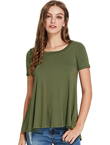 ROMWE Women's Short Sleeve Round Neck Open Back T-Shirt Casual Blouse Army Green ()