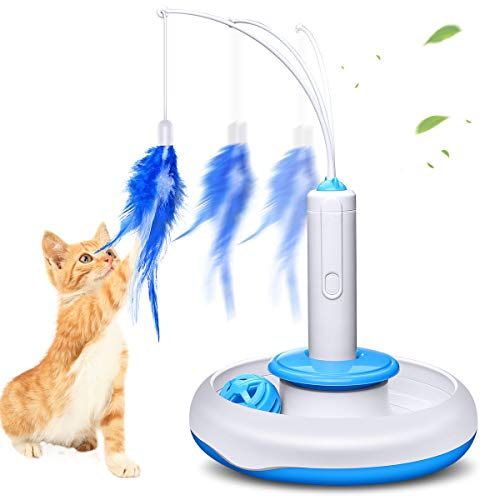 isYoung Cat Teasing Toy, Electric Mute Training Cat Toy Kitten Rotating Teaser Feather, Fun Playing Interactive Smart…