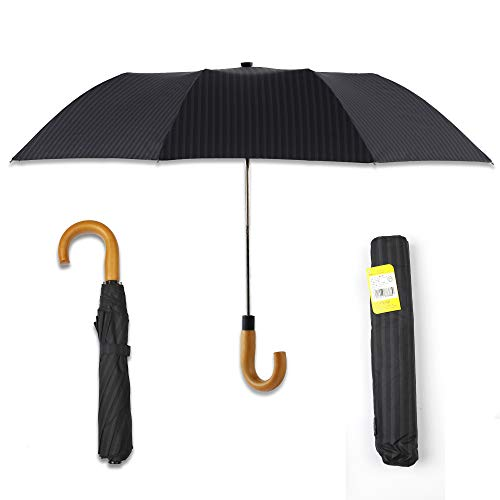 Kobold Travel Golf Umbrella Compact 2 Fold Auto Open - Windproof Wooden Handle Black Gentleman Umbrellas