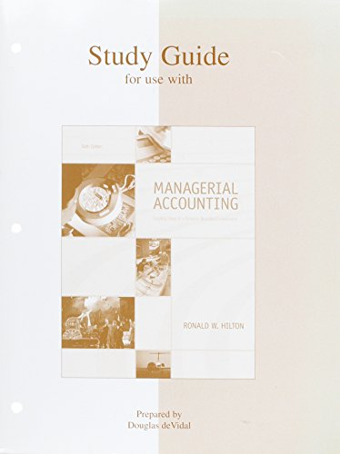 Study Guide for use with Managerial Accounting