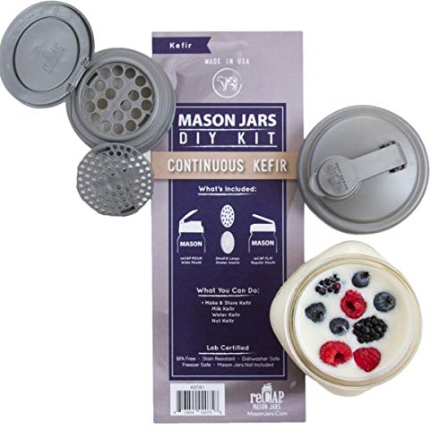 reCAP Mason Jars DIY Kit for Continuous Kefir - BPA-Free, American Made Ball Mason Jar Lids for Making and Storing Kefir, Spill Proof and Made with Safe, No-Break Materials