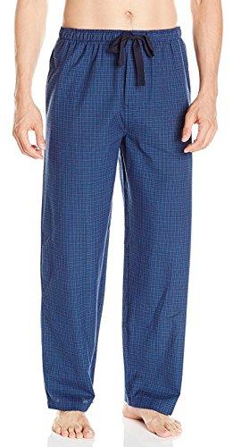 IZOD Men's Yarn-Dye Woven Broadcloth Pajama Pant, Blue Plaid, (Woven Yarn Dye)
