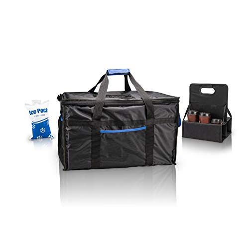 Ultimate Insulated Food Delivery Bag With Drink Carrier + [Free Ice Pack] -Thick insulation for hot or cold foods | 23'L x 14'W x 15'H |Leakproof interior | Heavy duty zipper| Commercial quality|