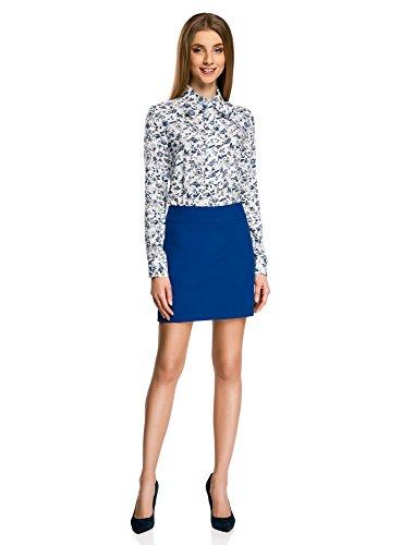 oodji Ultra Mujer Falda Corta Básica Azul (7500N)