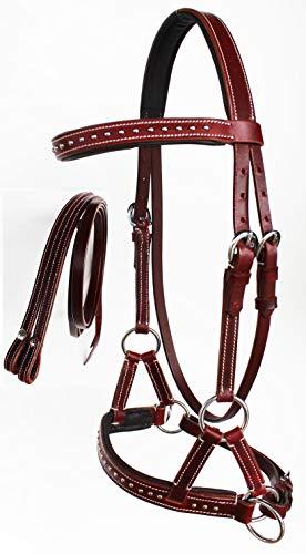 CHALLENGER Western Horse Leather BITLESS SIDEPULL Bridle REINS Chestnut COB TACK 7708MG-C