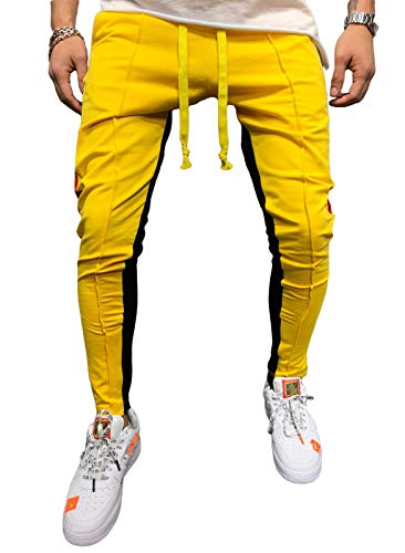 do.Cross Mens Striped Drawstring Running Pants Jogger Hipster Hip Hop Athletic Trousers with Pockets (M, Yellow)