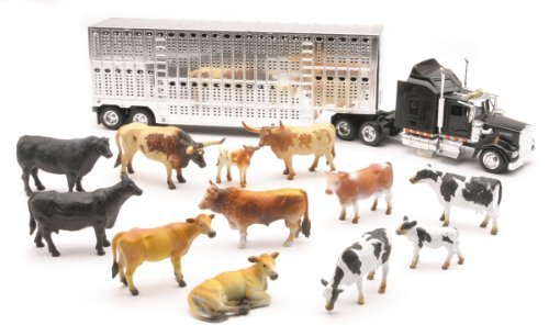 Country Life - Kenworth Livestock Tractor Trailer with 10 Head of Cattle - 1:43 scale
