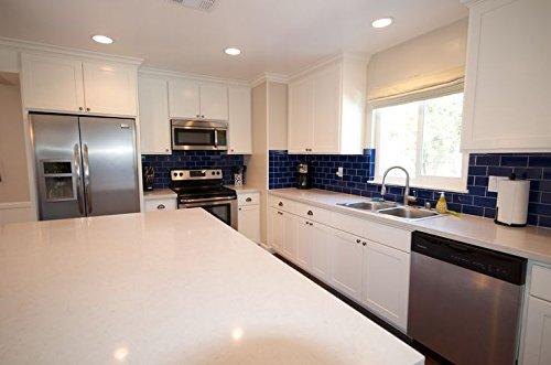 Premium Quality Cobalt Blue 3x6 Glass Subway Tile For Bathroom Walls Kitchen Backsplashes By Vogue Tile Amazon Com