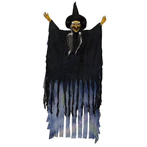 [Adorox Scary Flashing Blinking Laughing Light up LED Hanging Witch Figure Doll Haunted House Spooky Creepy Novelty Halloween Decoration] (Scary Halloween Witches)