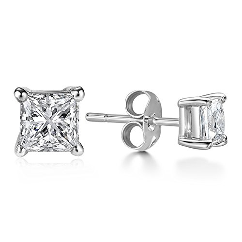 Billie Bijoux Sterling Silver Earrings Studs with Princess Cut Cubic Zirconia Diamond Rhinestone, Womens Fine Jewelry