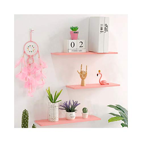 WUDENHOM Small Wall Shelves Pink, Wood Wall Hanging Shelves for Home Decoration Toys Game Storage Display Organizer Princess Dream Décor Shelves for Kids Room Bedroom Nursery(11.8/15.7/15.7 Inch Long)