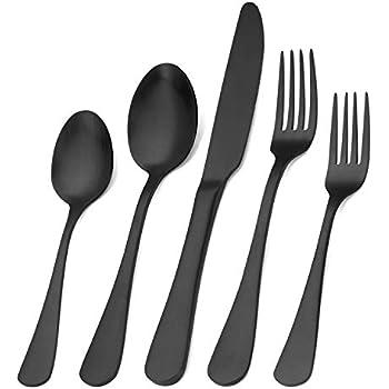 Matte Black Silverware Set , Satin Finish 20-Piece Stainless Steel Flatware Set,Kitchen Utensil Set Service for 4,Tableware Cutlery Set for Home and Restaurant, Dishwasher Safe