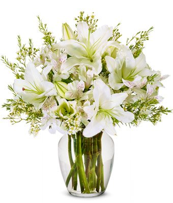 From You Flowers - Elegant Bouquet of Pure White Lilies (Free Vase Included)