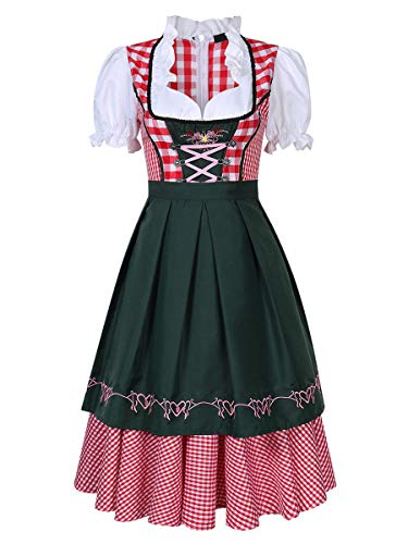 Evaliana Oktoberfest Waitress Party Dress German Bavarian Beer Wench Carnival Halloween Costume Maid Outfit -