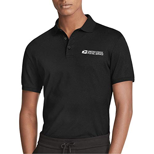 for Man White-United-States-Postal-Service-USPS-Logo- Custom Black Polo T-Shirts Work Uniform