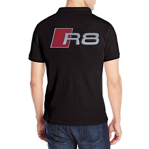 R8 Sports Car Men's Short Sleeve Polo Shirt Tee Printed On The Back Black