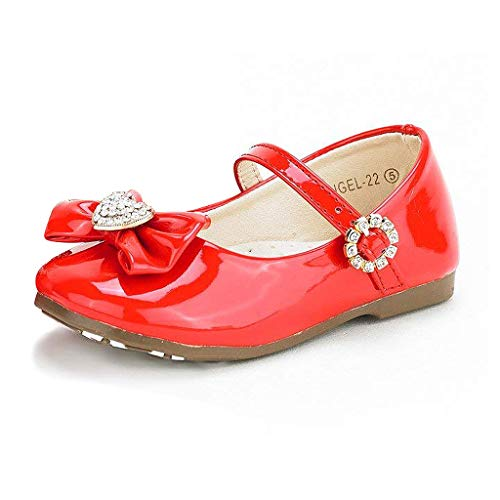 DREAM PAIRS ANGEL-22 Mary Jane Front Bow Heart Rhinestone Buckle Ballerina Flat New, Red-Patent 4 M US Toddler ()