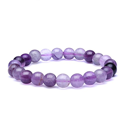 Bracelet Purple Fluorite - Candyfancy 8mm Natural Purple Fluorite Stone Healing Elastic Beaded Stretch Bracelets for Women Men DIY Spiritual Bracelet for 7.5-9Inch Wrist(Natural Purple Fluorite)