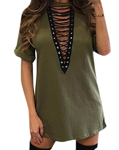 Pure Women Coolred Strappy V Deep Clubwear Cocktail Comfy Dress Neck Army Green Sleeve Short Bandage Color TXXr8dqWf