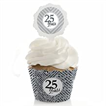 Big Dot of Happiness We Still Do - 25th Wedding Anniversary - Cupcake Wrapper and Pick - Cupcake Decorating Kit - Set of 24
