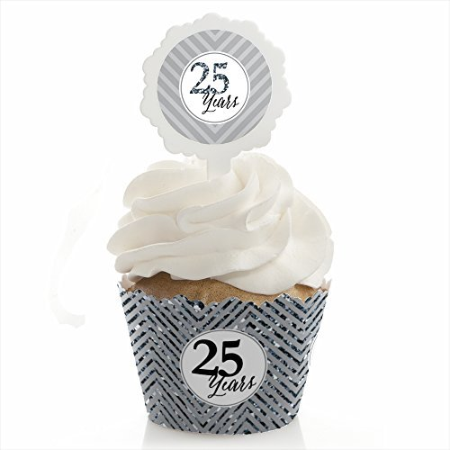 We Still Do - 25th Wedding Anniversary - Cupcake Wrapper and Pick - Cupcake Decorating Kit - Set of 24 - Cupcake Decorating Picks