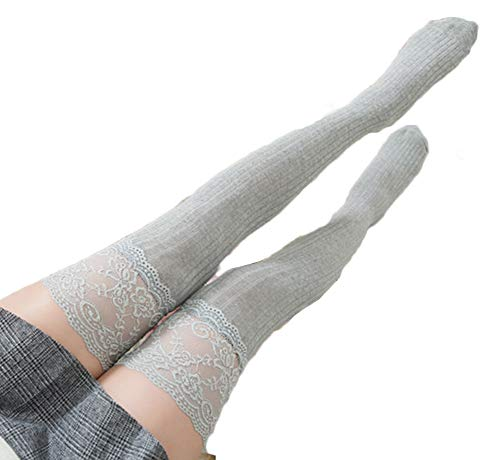 Women Lace Floral Top Over Knee Thigh High Stockings Leg Warmer Knitted High Boot Thigh Socks (Grey)