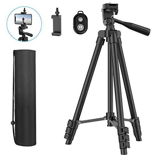 "Phone Tripod, 51"" Extendable Travel Lightweight Tripod Stand with Carrying Bag, Universal Tripod with Bluetooth Remote, Cell Phone Mount for iPhone Xs/Xs Max/Xr/X/8/8 Plus/Samsung/Android Phone,Camera"