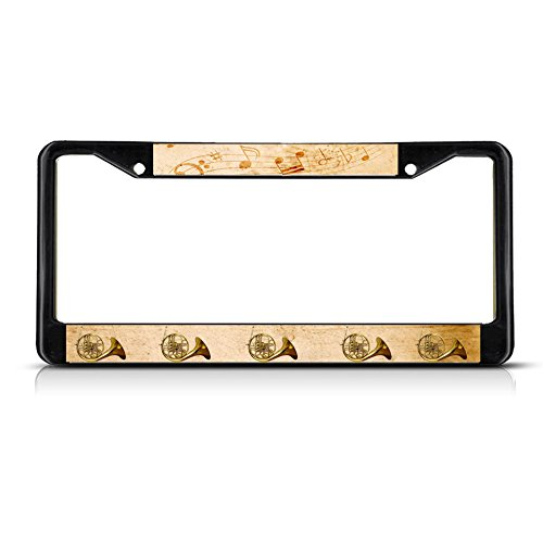 Sign Destination Metal License Plate Frame Solid Insert French Horn Musical Instrument Style 2 Car Auto Tag Holder - Black 2 Holes, One - Musical Horns Instrument