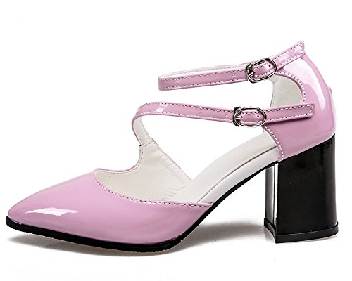 VogueZone009 Pink Women's Solid Toe Buckle Closed Sandals Patent Leather raZwq1x8Fr