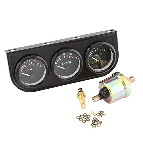 VGEBY 2'' Triple Gauge Set Includes Oil Press & Water Temp Gauges Voltmeter Sensor