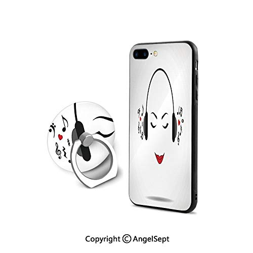 Protective Case Compatible iPhone 7/8 with 360°Degree Swivel Ring,Young Lady Listening Music with Earphones Smiling Close Eyed Girl Enjoying Melody Theme,Durable Soft Touching,Black White