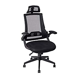 KADIRYA High Back Ergonomic Mesh Office Chair with Mesh Seat - Adjustable 90-110 Degree Tilt Lock, Flip-up Armrest, Lumbar Support and Headrest Computer Desk Task Chair, Black