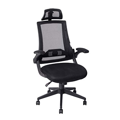 KADIRYA High Back Ergonomic Mesh Office Chair with Mesh Seat - Adjustable 90-110 Degree Tilt Lock, Flip-up Armrest, Lumbar Support and Headrest Computer Desk Task Chair, Black