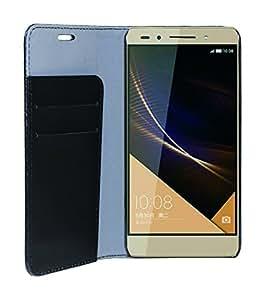 Phonix HUHO7BCB - Carcasa estilo libro, en cuero ecológico, para Huawei Honor 7, color negro