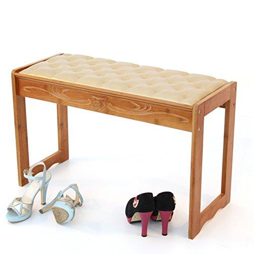 Nclon Clasica Bambu Piel Taburete del Zapato del,Almacenamiento Estante del Zapato de bambu Taburete de Zapatos-Taburete de Piano 72 * 30 * 46cm