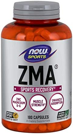 NOW Sports Nutrition, ZMA Zinc, Magnesium and Vitamin B-6 , Enhanced Absorption, Sports Recovery*, 180 Capsules