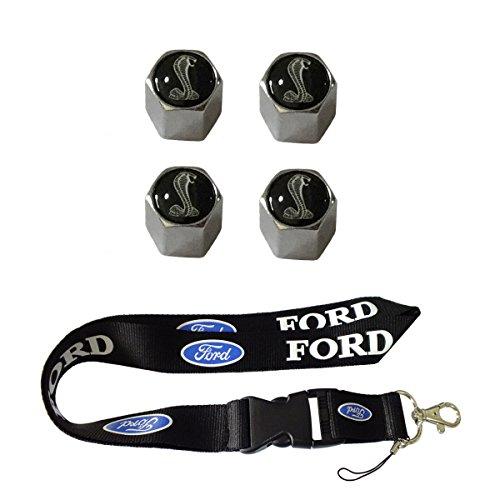 (New 1pcs Ford Keychain Lanyard Badge Holder + 4pcs set Black Snake Chrome Tire Stem Valve Caps Ford Mustang Shelby GT)