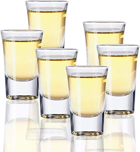 Circleware 42788 Clear Heavy Base Whiskey Shot Glasses, Set of 6, Party Home Entertainment Dining Beverage Drinking Glassware for Brandy, Liquor, Bar Decor, Jello Cups 1.7 oz Conquer ()