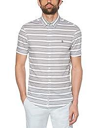 Men's Short Sleeve Stripe Button Down Shirt
